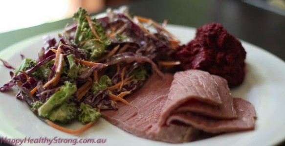 Corned Beef with Cabbage and Broccoli Slaw, and Beetroot Hummus